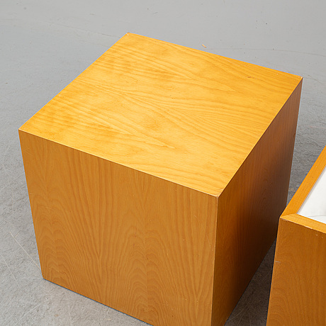 Tony tasset, 3 pieces, wood and leather. one signed and dated 1988 under.