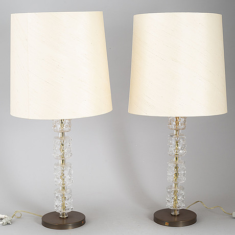 A pair of glass table lights from kosta, sweden.