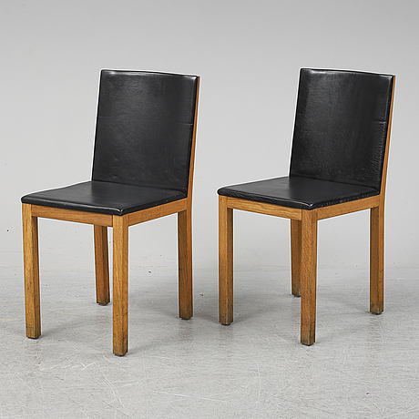 Six oak and leather chairs from gemla. dated 2001.