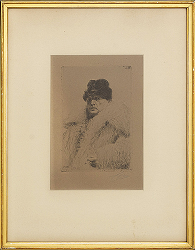 Anders zorn, signed etching.