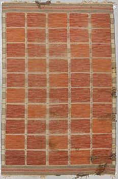 "Märta Måås-Fjetterström, a carpet, ""Rutig röd halvflossa"", knotted pile in relief, ca 310,5 x 205 cm, signed MMF."