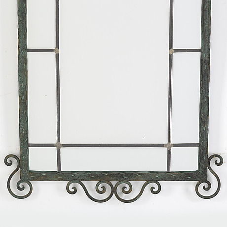 A wrought iron framed mirror, 1930's/40's.