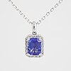 An 18k white gold necklace set with a faceted tanzanite.