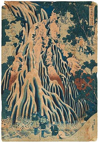 "Katsushika hokusai (1760–1849), after, colour woodblock print, japan, ""the falling mist waterfall""."