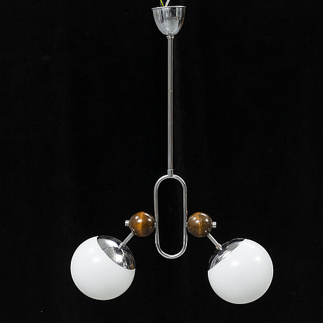 A chromed ceiling light, 1930's.