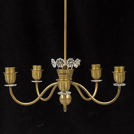 A brass swedish modern ceiling lights, 1940's/50's.