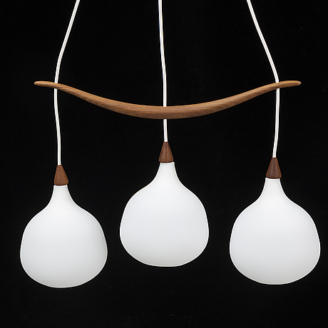 Uno & östen kristiansson, a teak and glass ceiling light from luxus, vittsjö, 1950's/60's.