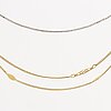 3 goldchains, 18k gold and whitegold, 12,4 g, 38, 42 and 44 cm.
