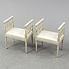 A pair of late gustavian style stools, early 20th century.