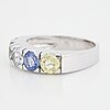 A 14k gold ring set with faceted sapphires ca. 3.18 ct in total.