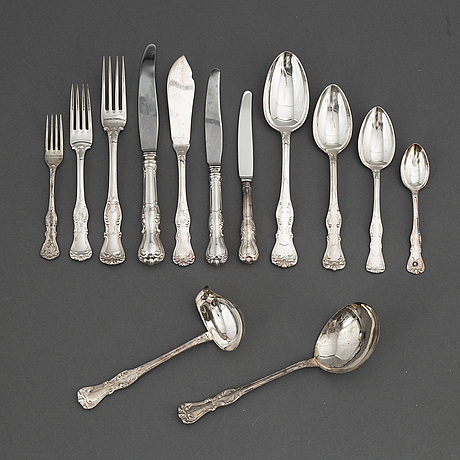 A 'prins albert' silver cutlery, gab, some stockholm 1964. (202 pc.).