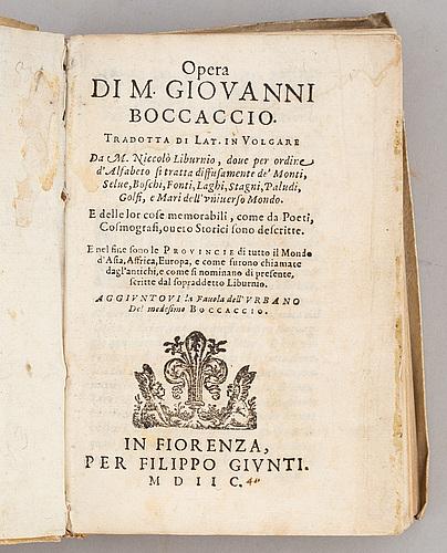 Boccaccio 1598, livy 1645 (2 vol).