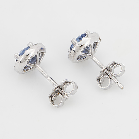 Sapphire and brilliant-cut diamond earrings.