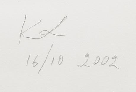 Kuutti lavonen, tusch och blyertspenna, signerad och daterad 16/10 2002.