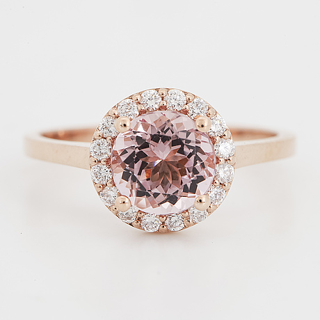 Morganite and brilliant-cut diamond ring.