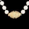 Cultured pearl necklace, replica viking clasp 18k gold.