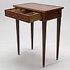 A late gustavian table signed c g foltiern, stockholm (1804-1829).