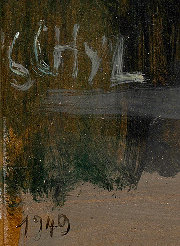Jules schyl, oil on panel, dated 1949 and signed.