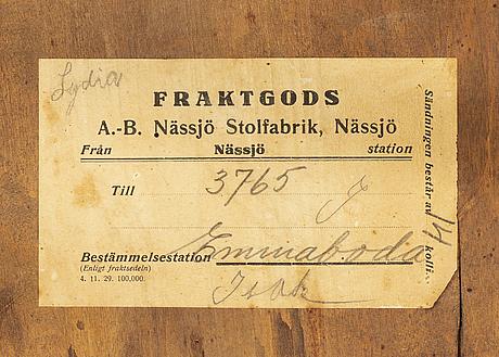Stolar, 6 st, nässjö stolfabrik, 1900-talets första hälft.