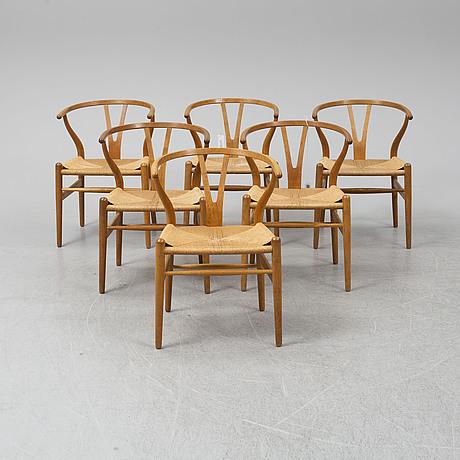 Hans j wegner, six oak 'y' chairs from carl hansen & son, odense, danmark, 1950's.