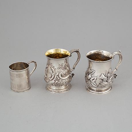 Three silver jugs, london 1743, 1767 and 1805.