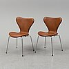 Arne jacobsen, six leather 'series 7' chairs, fritz hansen, denmark.