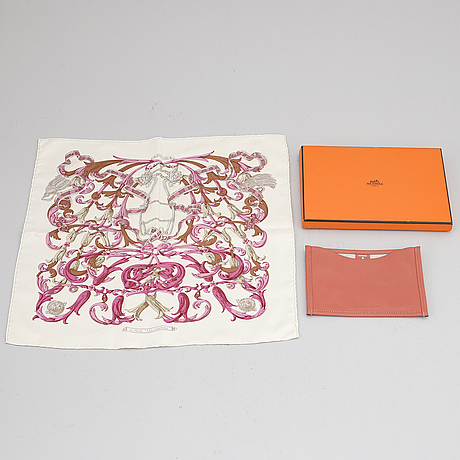 HermÈs, a leather case and a silk scarf.