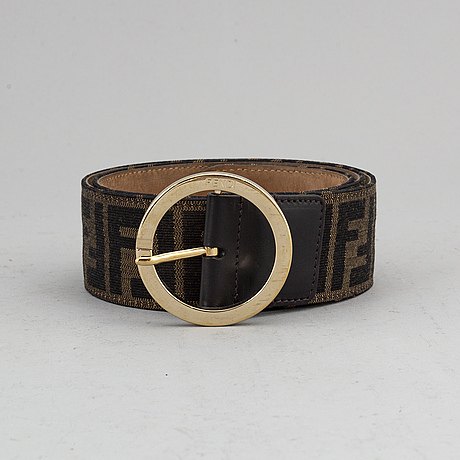 Fendi, a monogram canvas and leather belt, size 90.