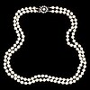 Cultured pearl necklace, clasp silver with white paste.
