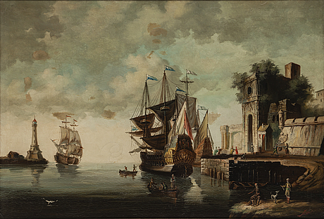 Claude joseph vernet, copy after, oil on canvas, probably 19th century.