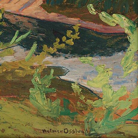 "Helmer osslund, ""nipor i kvällssol"" (sunset over sandy river banks)."