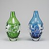 HelÉn krantz, two glass vases, orrefors, signed and dated 2000.