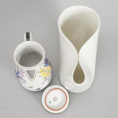 Stig lindberg, a stoneware vase 'veckla' and an  earthenware jug, gustavsberg.