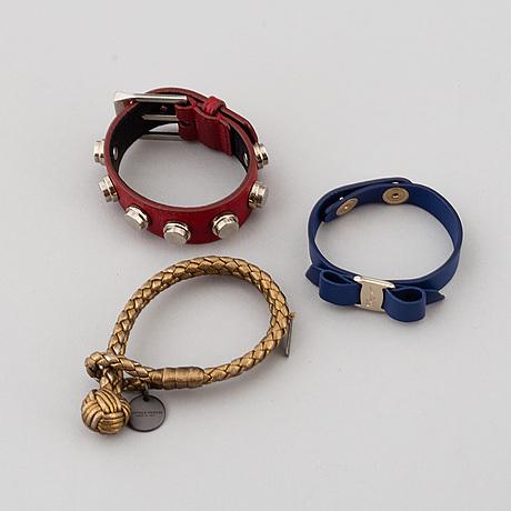 Ferragamo, bottega veneta & saint laurent, bracelets.