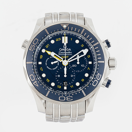 Omega seamaster diver 300m co-axial gmt, wristwatch, chronograph, 44 mm.