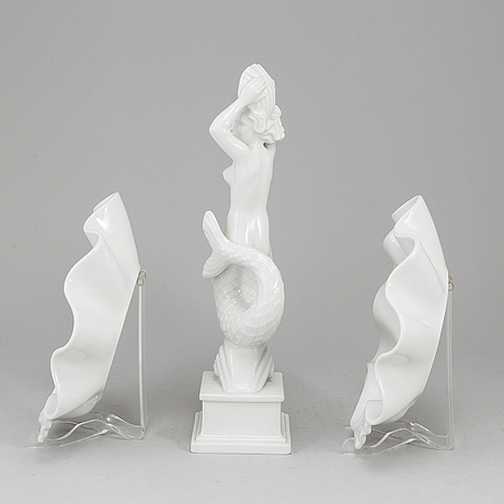 Harald salomon, a white glazed porcelain figurine and two dishes, for rörstrand, monogram signed.