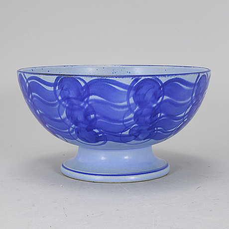 A lisa larson stoneware bowl, k-studion, gustavsberg, signed.