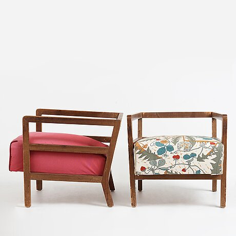 "Axel einar hjorth, a pair of stained pine lounge chairs ""sport"", nordiska kompaniet, sweden 1930's."