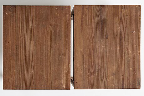 "Axel einar hjorth, a pair of stained pine side tables ""sport"", nordiska kompaniet, sweden 1930's."