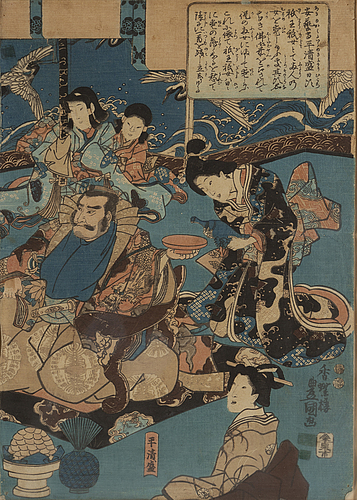 Utagawa kunisada i (toyokuni iii) (1786-1865), a colour triptych, woodblock print, japan, 19th century.