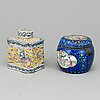 Two chinese tea caddies with cover, enamel on copper, qing dynasty, 19th century.
