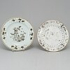 A set of three grisaille dishes and a tea caddie, qing dynasty, qianlong (1736-95).