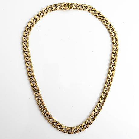 A 14k gold necklace.