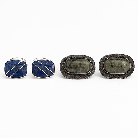 Two pairs of silver cufflinks, one pair with lapis lazuli and one pair with jade.