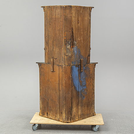 A 18th century painted cabinet for a corner.