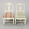 Seven gustavian chairs from around year 1800.