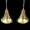 Hans-agne jakobsson, a pair of brass ceiling lamps, markaryd, 1960/70s.