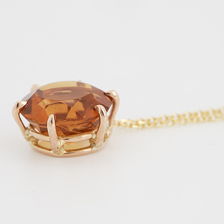 Round faceted citrine necklace.