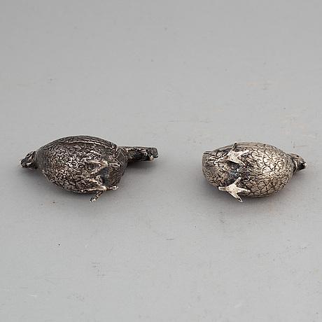 Two silver salt cellars, swedish import marks.