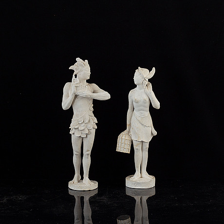 Unknown artist 20th century, two plaster sculptures. one signed ka. height 41 cm and 45 cm.